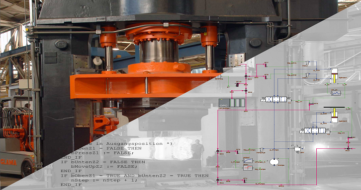 Virtual commissioning of a hydraulic forging press